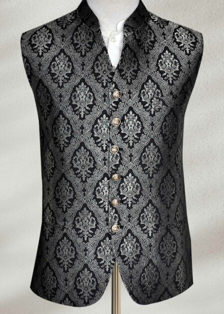 Customized Black Silver Grey Waistcoat