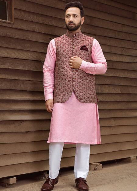 Maroon Textured Waistcoat