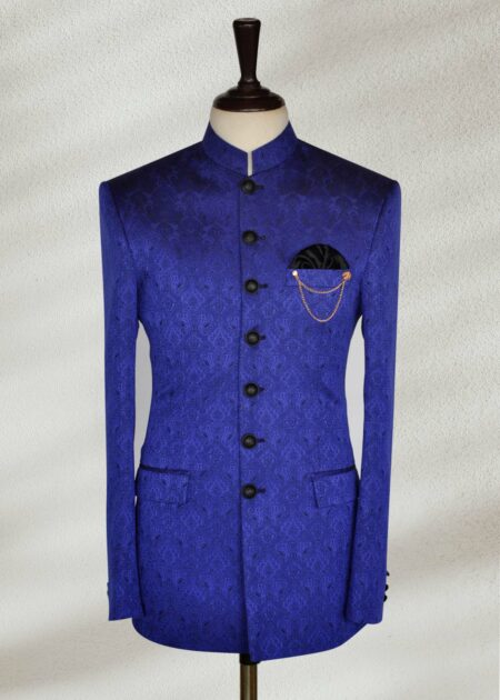 Royal Blue Printed Jamawar Prince Suit