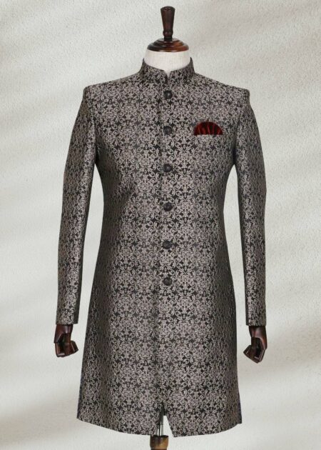 Silver Black Textured Sherwani