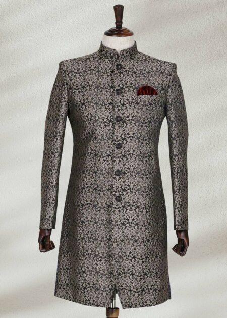 Silver Black Textured Sherwani