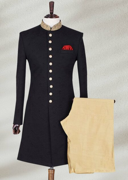 Jamawar Fabric Traditional Sherwani In Black Color
