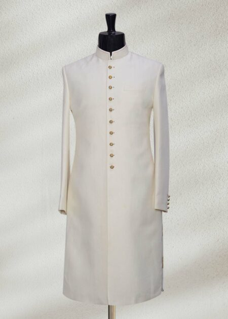 Off-white Italian Thread Embroidered Indo Western Sherwani