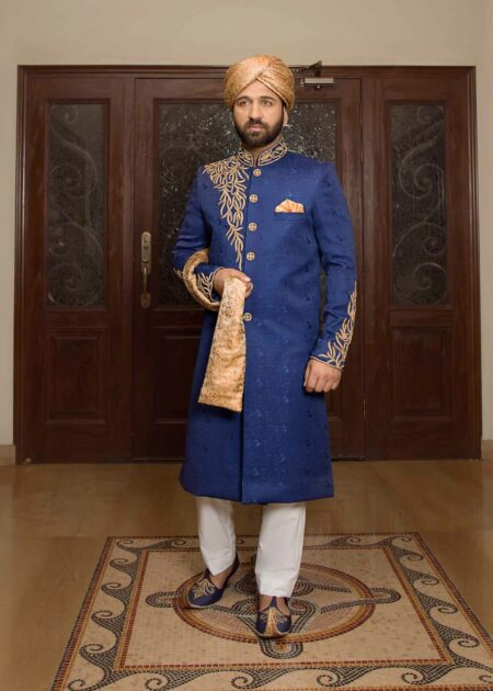 Blue Self Printed Sherwani