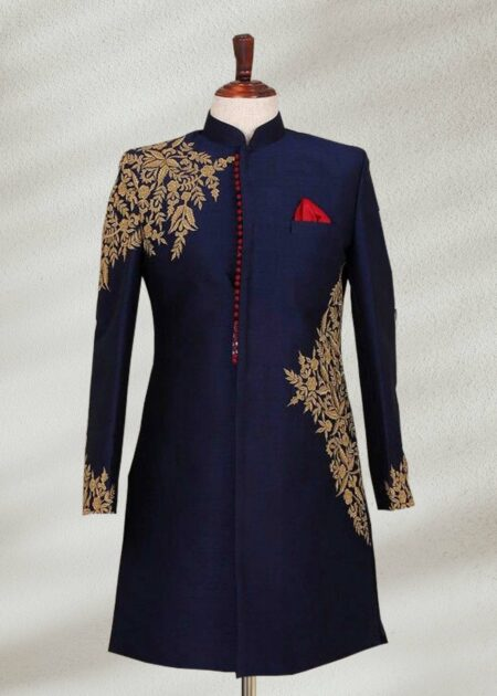 Navy Blue Plain Sherwani
