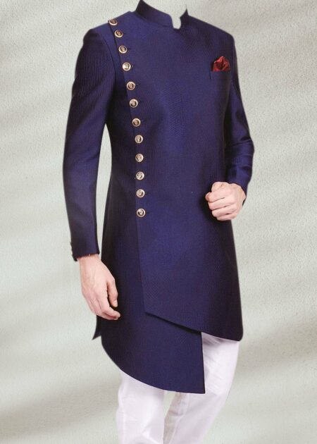 Navy Blue Side Cut Sherwani
