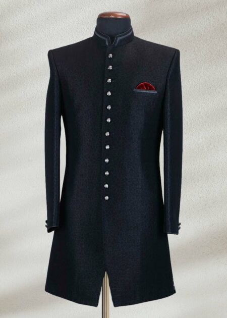 Plain Black Sherwani