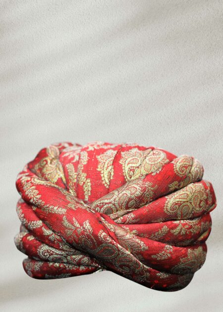 Mehroon and Golden Paisley Flowers Rajasthani Turban