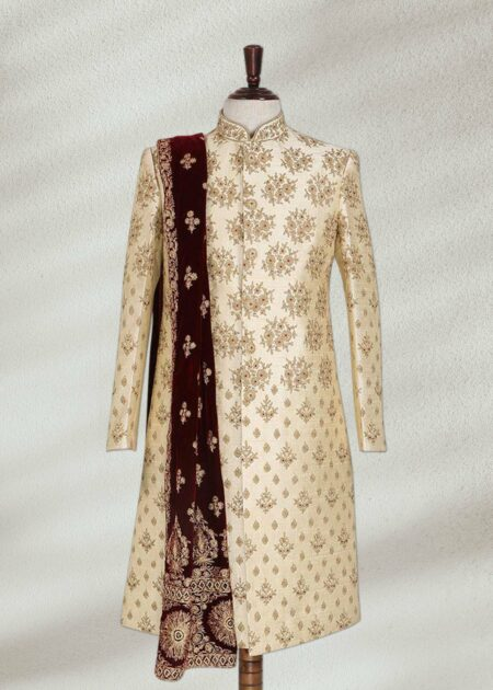 Jamawar Cream Color Wedding Wear Sherwani