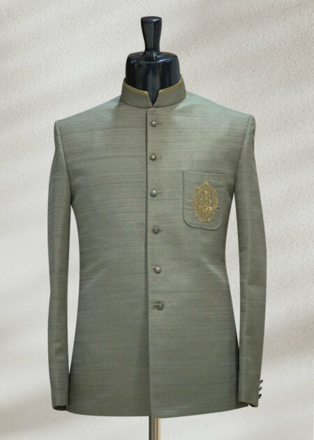 Green Zari Embroidered Raw Silk Prince Suit