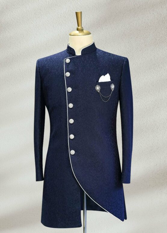 Blue Side Cut Sherwani