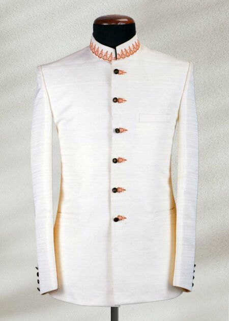 Off White Prince Coat with Zari Embroidery