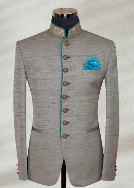 Grey Raw Silk Prince suit