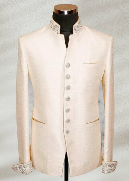 Ivory Raw Silk Prince Suit