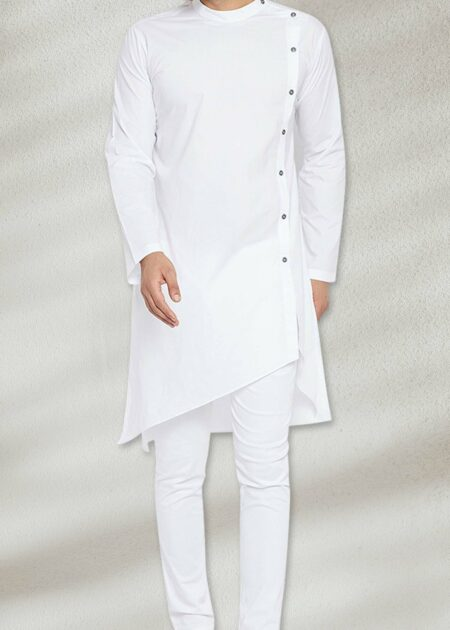 Side Cut White Kurta