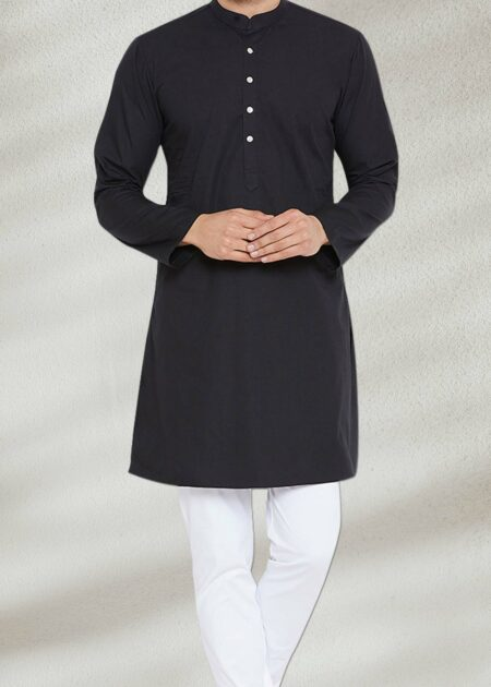 Solid Men's Black Kurta
