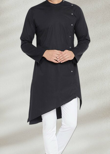 Stylish Side Cut Black Kurta