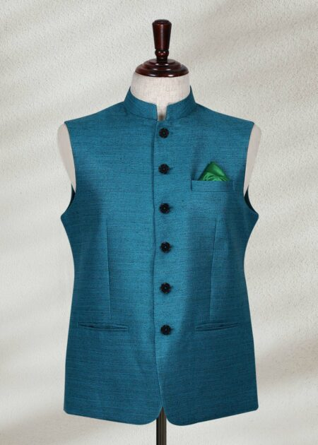 Turquoise Green Color Waistcoat