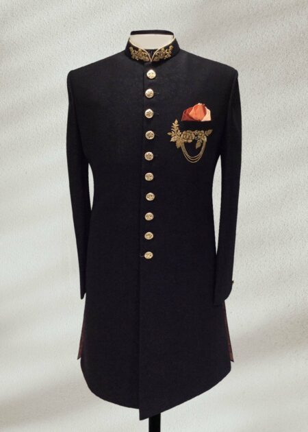 Royal Sherwani for Groom in Black