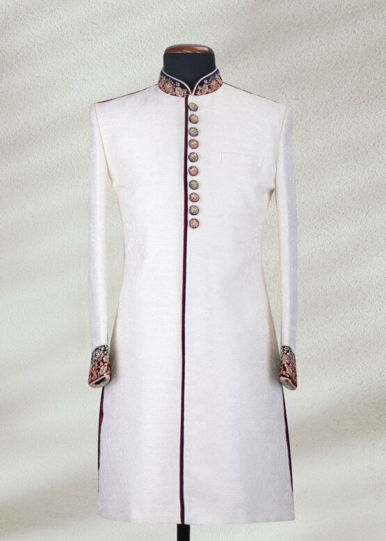 Traditional White Sherwani