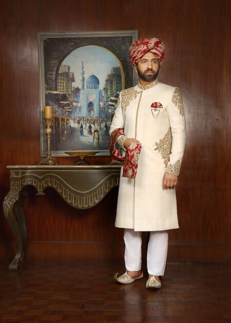 White Self Printed Sherwani