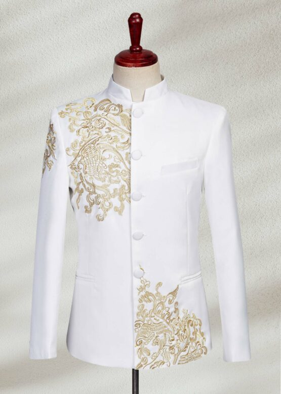 Embroidered White Prince Suit