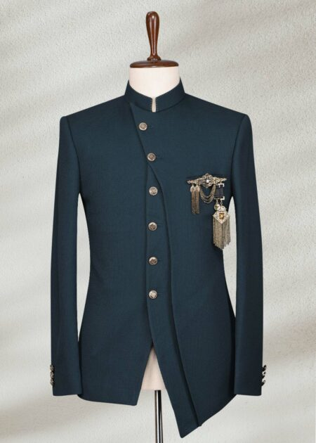 Zinc Blue Embroidered Italian Prince Coat