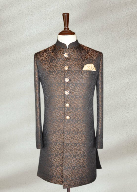 Gold Black Textured Sherwani