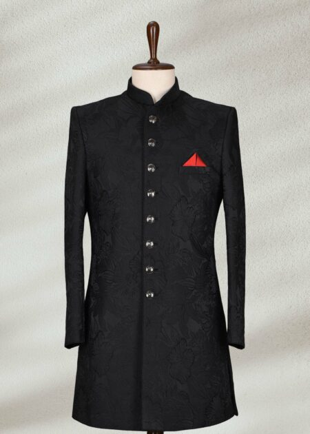Solid Self Black Sherwani