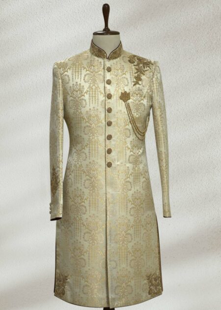 Gold Embroidered Wedding Sherwani
