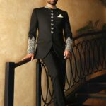 Black Embroidered Prince Suit