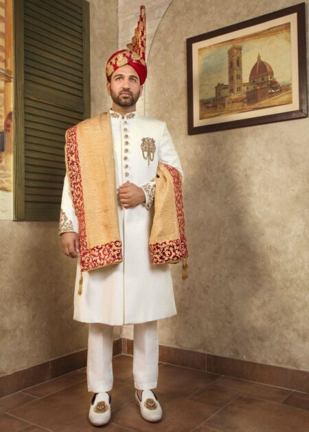 White Embroidered Wedding Sherwani