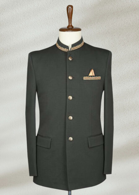 Army Green Zari Embroidered Prince Suit