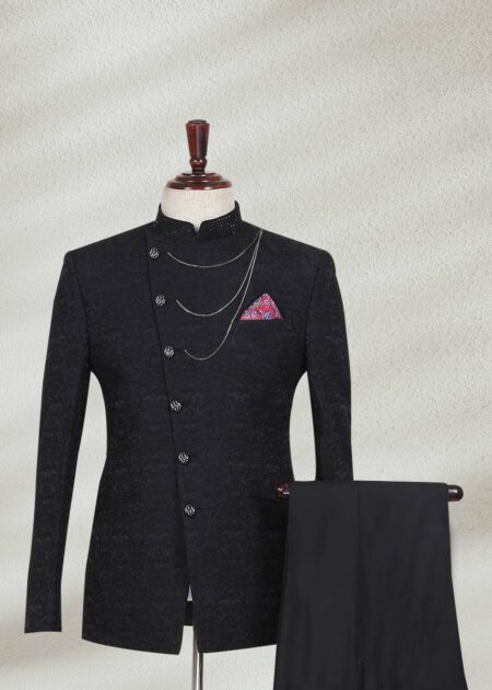 Black Angled Cut Prince Suit