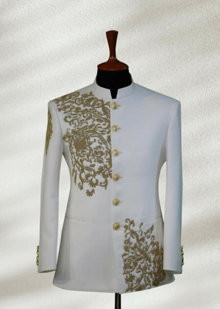 White Embroidered Prince Suit