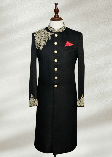 Black Embroidered Wedding Sherwani