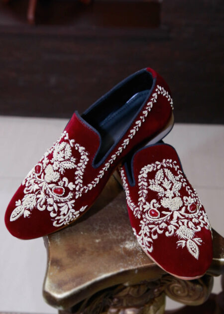 Crimson Hand Embroidered Shoes