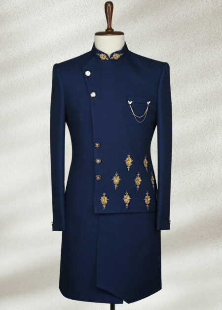 Blue Sequins Embroidered Indowestern Sherwani