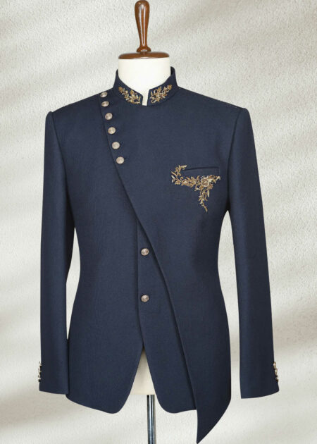 Navy Blue Embroidered Jodhpuri Prince Suit