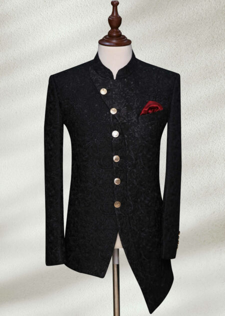 Black Angle Cut Prince Coat