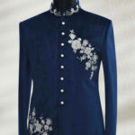 Egyptian Blue Zardosi Embroidered Suede Prince Suit