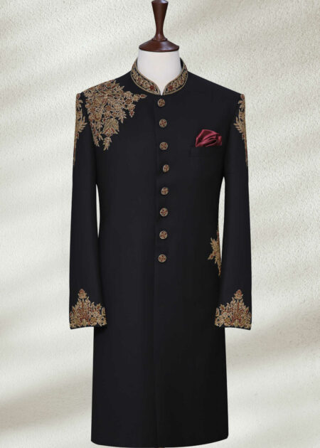 Groom Black Sherwani