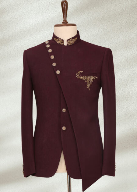 Maroon Zardosi Embroidered Italian Prince Suit