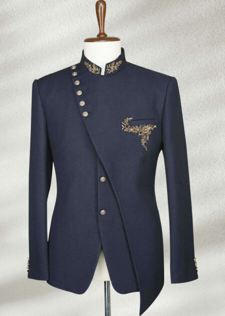 Navy Blue Zardosi Embroidered Italian Prince Suit