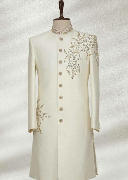 Pearl White Zardosi Embroidered Silk Wedding Sherwani