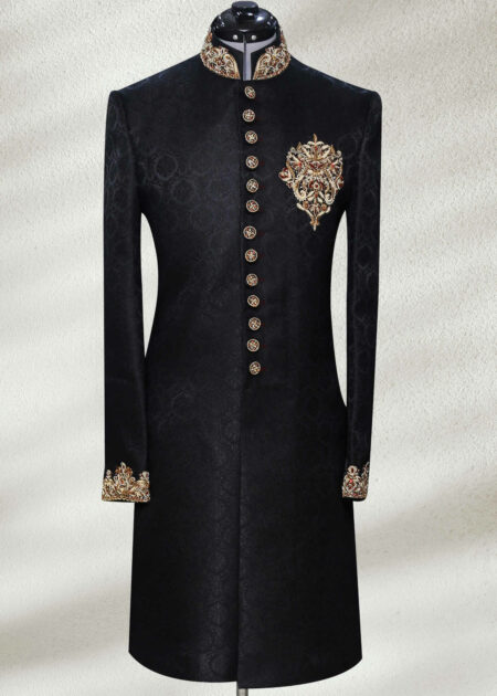 Black Stone Work Sherwani