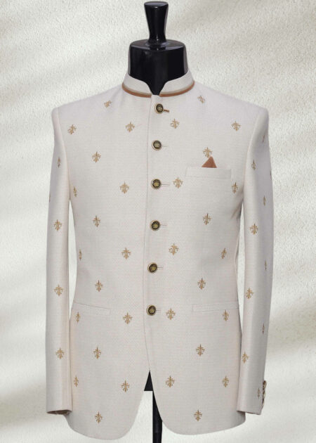 Off White Embroidered Prince Suit