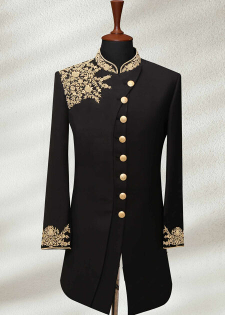 Black Wedding Shervani Fully Gold Embroided
