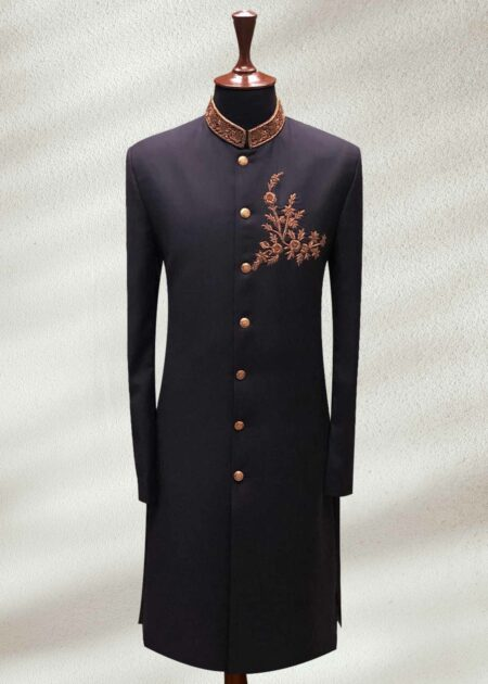 Best Black Wedding Shervani With Fully Gold Embroided