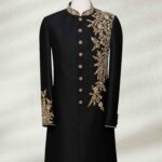 Black Wedding Shervani With Gold Embroidery